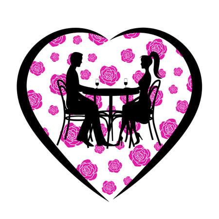 Valentinstag symbol ein Herz mit Rosen ein romantisches Treffen