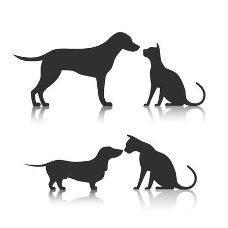 dog and cat: Friends Pet Icon Illustration