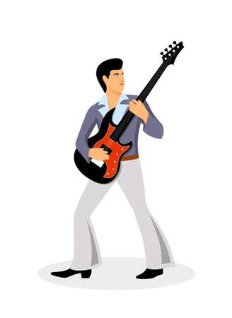 muzikant met een gitaar op een witte achtergrond