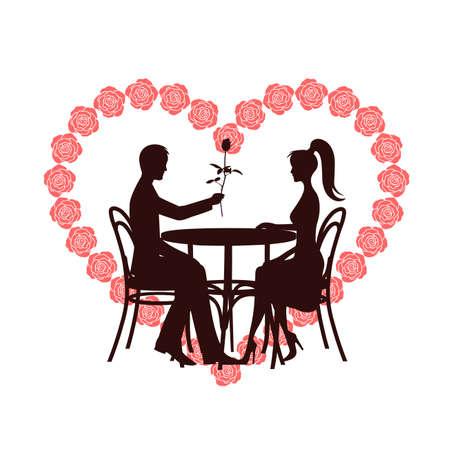 Valentinstag symbol ein Herz mit Rosen ein romantisches Treffen Vektorgrafik