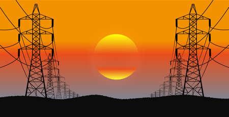 lijnen van elektriciteit brengt een avond landschap in een vector