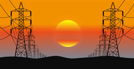 high tension: lines of electricity transfers an evening landscape in a vector