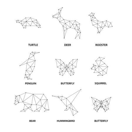to polygons: animales siluetas geométricas. Conjunto de polígonos