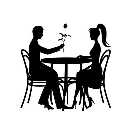 Silhouetten der romantischen Paare in der Liebessitzung auf einem weißen Hintergrund