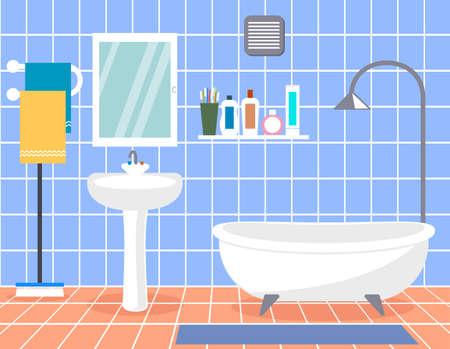 Design modern bathroom. Bathroom interior with in flat style.  イラスト・ベクター素材