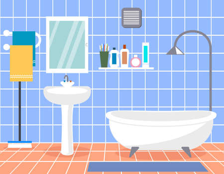 Design modern bathroom. Bathroom interior with in flat style. Stock Illustratie
