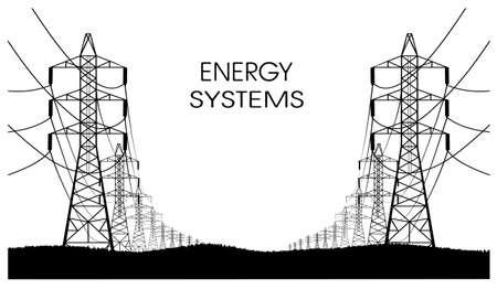 electricidad: las líneas de transmisiones de energía eléctrica en un fondo blanco Vectores