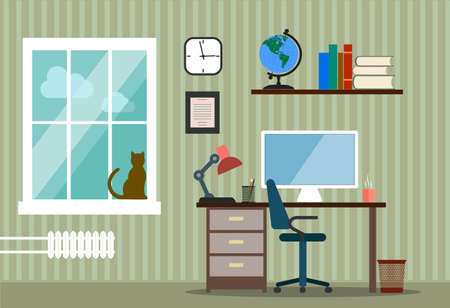 writing chair: The design of modern working facilities. Cabinet Room in a flat style.