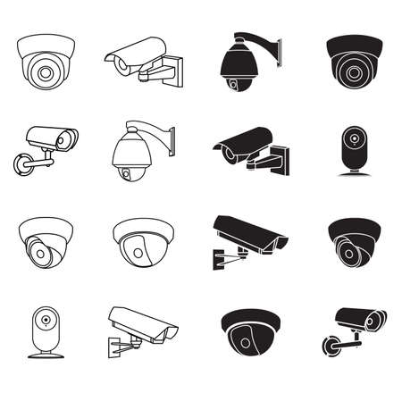 security icon: set of icons surveillance camera