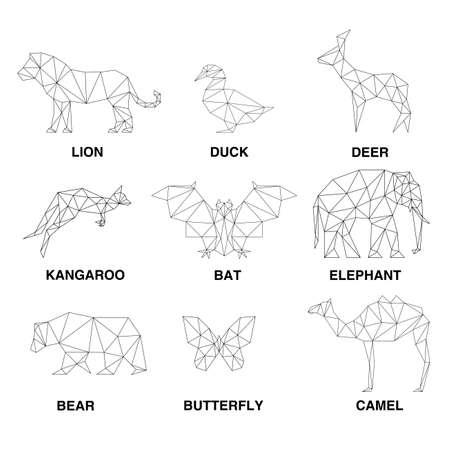 동물: 기하학적 동물 실루엣. 다각형의 집합 일러스트