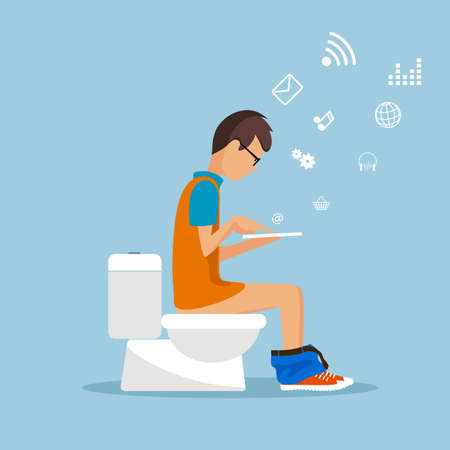 man in the toilet room with the tablet flat style. Vectores