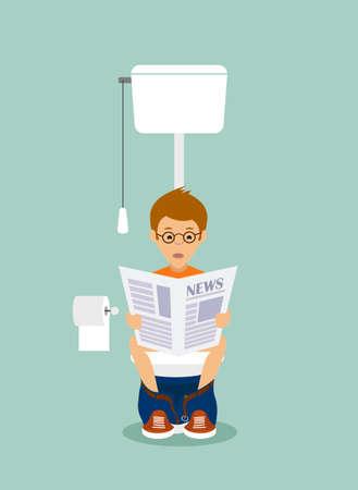 papel higienico: hombre en el estilo plano cuarto de aseo.