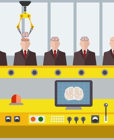 artificial intelligence: Robotic conveyor assembly. Artificial Intelligence .flat style Illustration