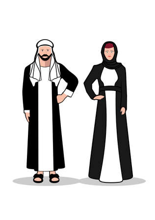 beard woman: Arab man and woman.In traditional Arab dress on a white background. Illustration