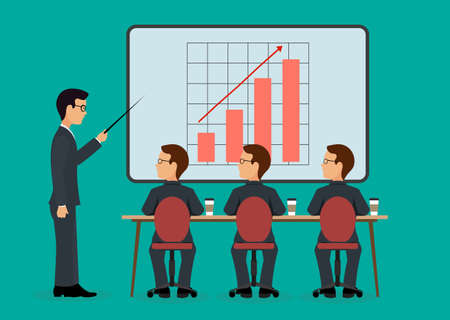 increases: A group of people in the office. Economic seminar .Speaking to the audience flat style.