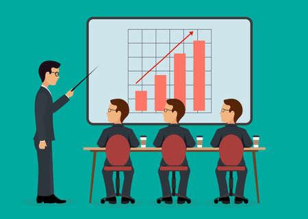 incremento: Un grupo de personas en la oficina. seminario económico .Speaking al estilo plano audiencia. Vectores