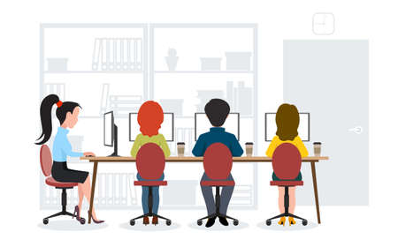 office team: Office work. Business team.