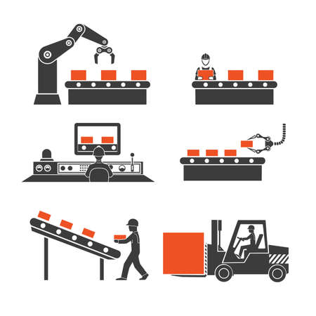conveyor: icons production lines of the conveyor