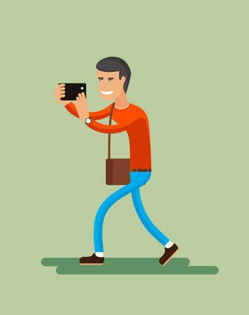 shoots: Man shoots smartphone illustration