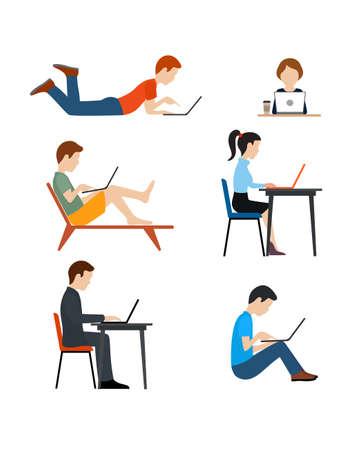 to sit: Conjunto de iconos de estilo plano. Las personas que trabajan en el equipo.