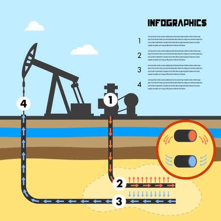 infographics scheme of mining shale  illustration. Illustration