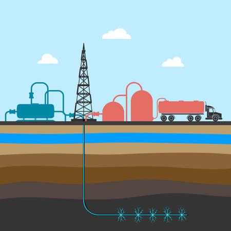 fracturing: scheme of mining shale  illustration. Illustration
