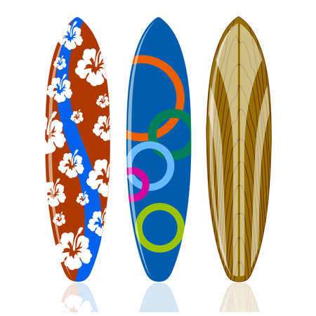 surfboards on a white background.