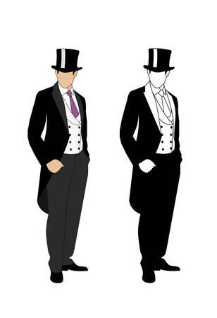 hombre con sombrero: silueta de un caballero con un esmoquin Vectores