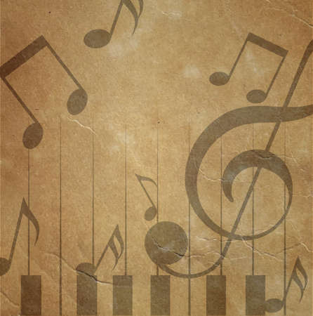 music poster: Vintage old paper background with notes grunge style