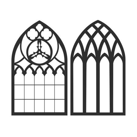 Gothic windows. Vintage frames. Church stained-glass windows 矢量图像