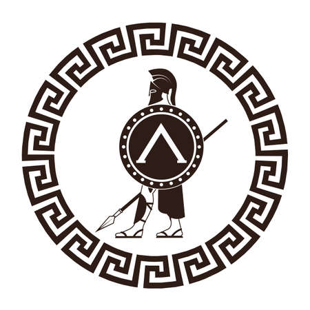 ancient civilization: icon silhouette of the Spartan soldier