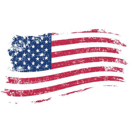 democracia: bandera de EE.UU. en el estilo grunge en un fondo blanco
