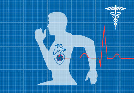 cardiovascular: running man symbol cardiovascular medicine