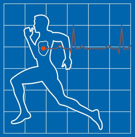simbolo medicina: medicina cardiovascular corriendo símbolo del hombre