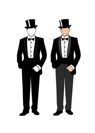 gentlemen: silhouette of a gentleman in a tuxedo