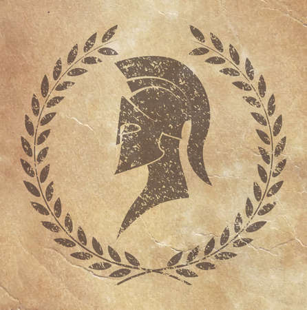 spartan: old shabby symbol of reproduction on paper Spartan warrior in grunge style Illustration