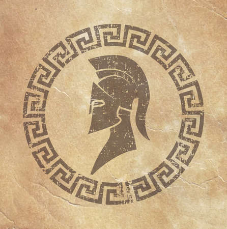 reproduction: old shabby symbol of reproduction on paper Spartan warrior in grunge style Illustration