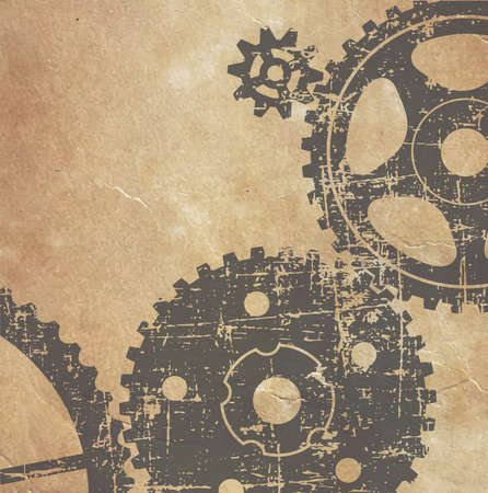old technical drawing of gears on paper in grunge style