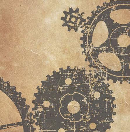 oude technische tekening van tandwielen op papier in grunge-stijl
