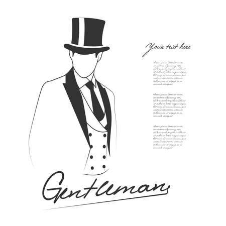 black hat: silhouette of the gentleman on white background with place for your text