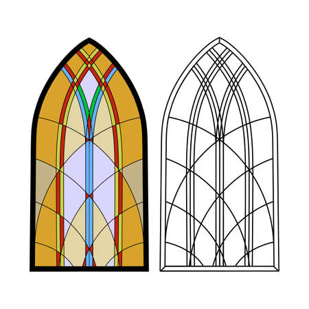 stained glass church: Gothic windows. Vintage frames. Church stained-glass windows Illustration