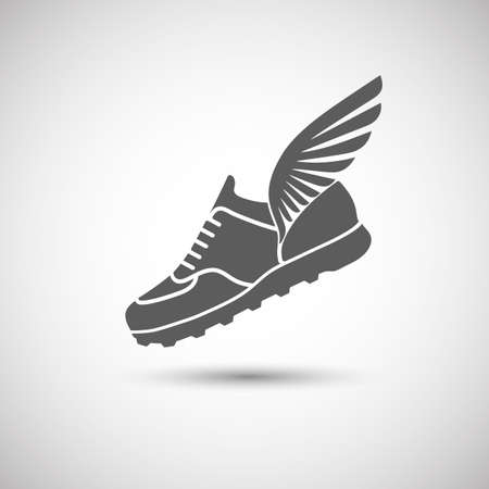 walk: sports shoes with wings icon