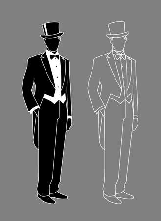 black hat: silhouette of a gentleman in a tuxedo