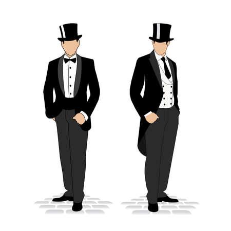 traje formal: silueta de un caballero con un esmoquin Vectores