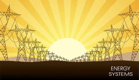 paesaggio industriale: le linee di energia elettrica trasferisce un paesaggio di sera