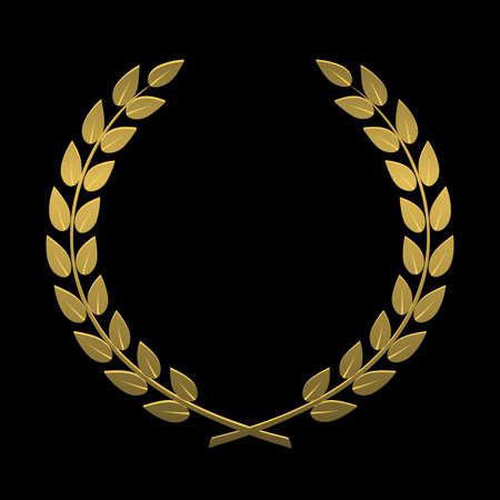 검은 색 바탕에 금의 로렐 화환 일러스트