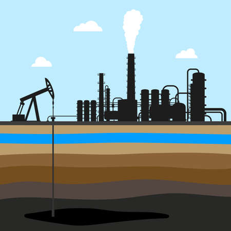 chink: scheme of oil production. industrial background. oil field Illustration