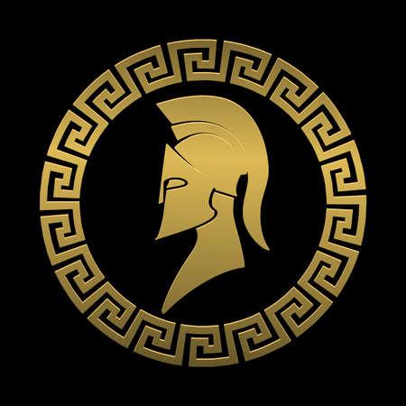 Gouden symbool Spartaanse krijger op een zwarte achtergrond Stock Illustratie