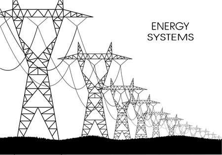 paesaggio industriale: le linee di trasmissione di energia elettrica su uno sfondo bianco Vettoriali