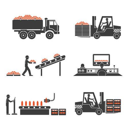 Ikony produkcja soków Ilustracje wektorowe